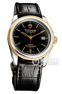 帝舵骏珏系列55003-Shiny black leather strap